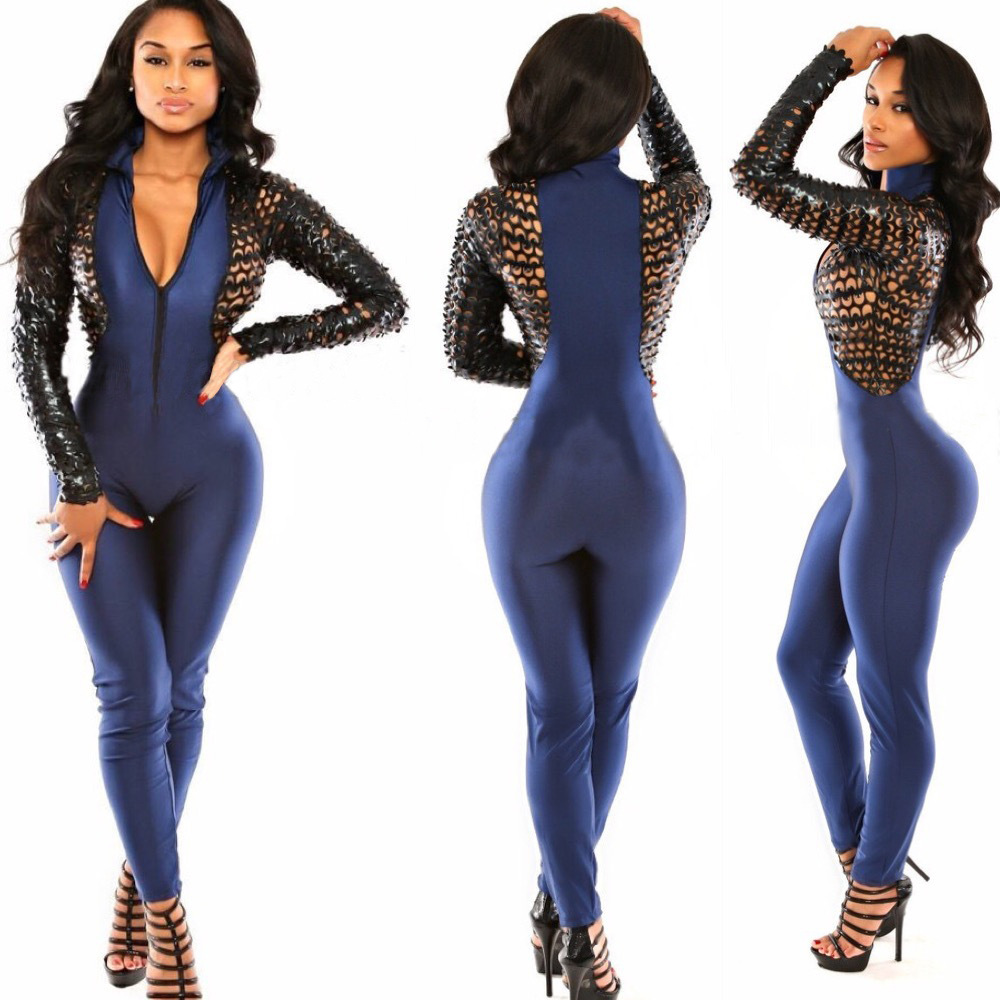 Jumpsuit New Fashion Sexy Patchwork Leather Bodycon Jumpsuit ...