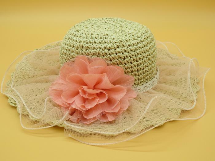 儿童蕾丝花朵太阳帽