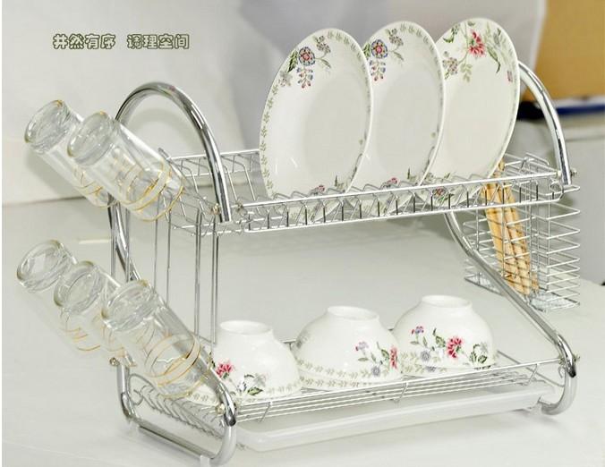 厨房置物架 不锈钢碗架双层沥水碗架多功能厨房置物架 阿里巴巴